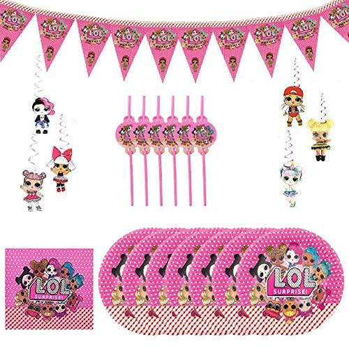 Image 3 - REYOK Party Supplies Set,78 Pcs Fournitures de Fête Vaisselle LOL Surprise Dolls,Enfants de Décoration Happy Birthday Party Vaisselle,Tasses Serviettes Nappe Papier Bannière-Servir 10 Invités