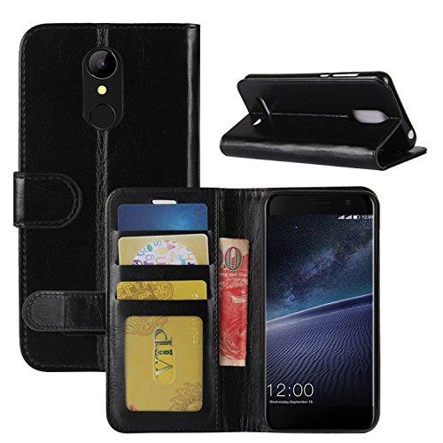 HualuBro Coque Leagoo M5 Edge, [Tout Autour Protection] Premium Étui en Cuir PU Leather Wallet Portefeuille Housse Case Flip Cover avec Cartes Slots pour Leagoo M5 Edge 4G LTE 5.0' Smartphone (Noir)