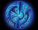 Kpoiuy Pintar por NúMeros DIY Circulo Patrones Lineas Azules DecoracióN De La Boda De La Lona Imagen del Arte Regalo 40 * 50CM Sin Marco
