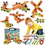 HERSITY 72 Piezas Maletín Herramientas de Bricolaje de Juguetes Juegos de Construccion Educativo Regalos para Niños 3 4 5 6 Años
