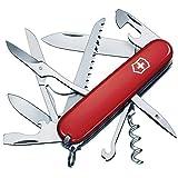 Victorinox Couteau de Poche Huntsman (15 Fonctions, Grande Lame, Ciseaux, Scie à Bois, Tournevis) - Rouge, One Size