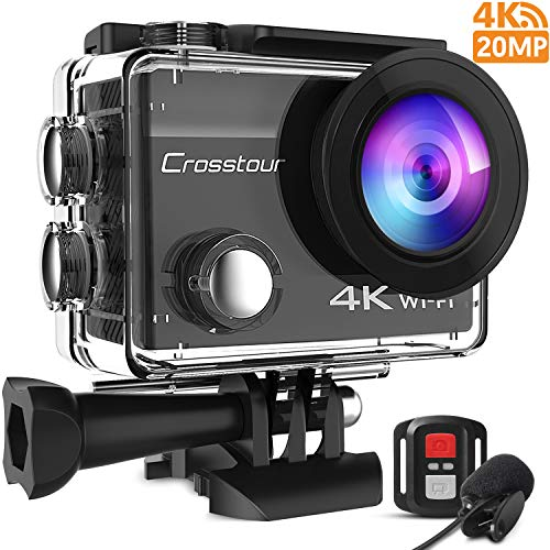 Crosstour CT8500 Action Cam 4K 20MP Webcam PC Mode WiFi con EIS Subacquea 40M Action Camera con Microfono Esterno e Telecomando (CT8500)