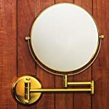 Hotel Quality 8 Magnification Wall Mount Swing Arm Mirror. Two-Sided Regular & 7X Magnification. Bright Gold Finish.