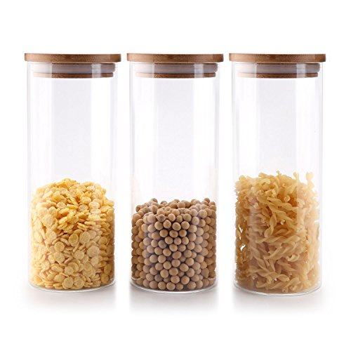 ComSaf Glass Food Storage Canisters with Lids Set of 3-30oz, BPA Free High Borosilicate Glass Cookies Jars with Sealing Bamboo Cover
