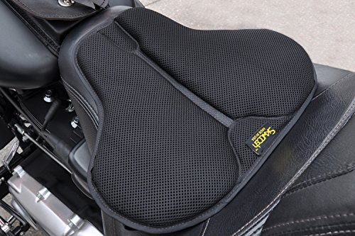 SKWOOSH Classic Saddle Motorcycle Gel Seat Cushion Cooling Mesh Breathable Fabric | Accessories | Made in USA (Short)