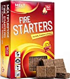 Fire Starters 160 Squares Charcoal Starter for Grills, Campfire, Fireplace, Firepits, Smokers. No flare ups & flavor. FireStarter for wood & pellet stove. Waterproof robust squares (small pack)