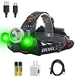 BORUiT RJ-3000 LED Headlamp with Green Light - White & Green LED Hunting Headlight - USB Rechargeable & 3 Mode -Ultra Bright 5000 Lumens Tactical Head lamp for Running, Camping, Hiking & More