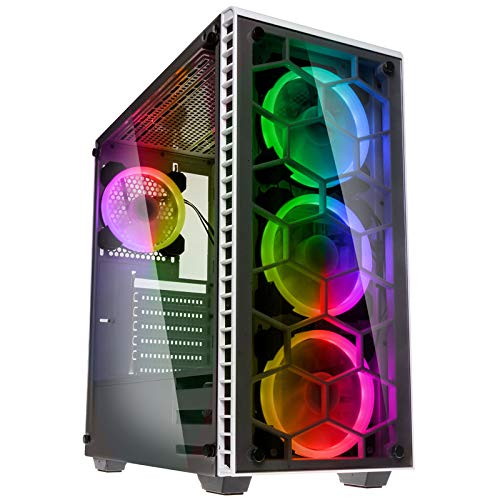 KOLINK Observatory RGB Midi-Tower Computergehäuse, PC Hülle, ATX Gehäuse, Tempered Glass Gaming PC Case, Dezentes Design Computer Gehäuse, Weiß