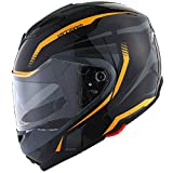 1Storm Motorcycle Street Bike Modular/Flip up Dual Visor/Sun Shield Full Face Helmet Storm Tron Orange