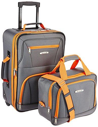 Rockland Fashion Softside Upright Luggage Set, Charcoal