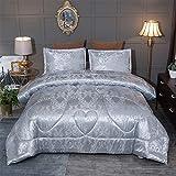 Raytrue-X King Size Comforter Set, Silver Bedding Comforter Sets All Season Grey Bed Comforter King Set, Soft Lightweight Silk Jacquard Comforter Set with 2 Pillow Shams(King/California King,104x90)