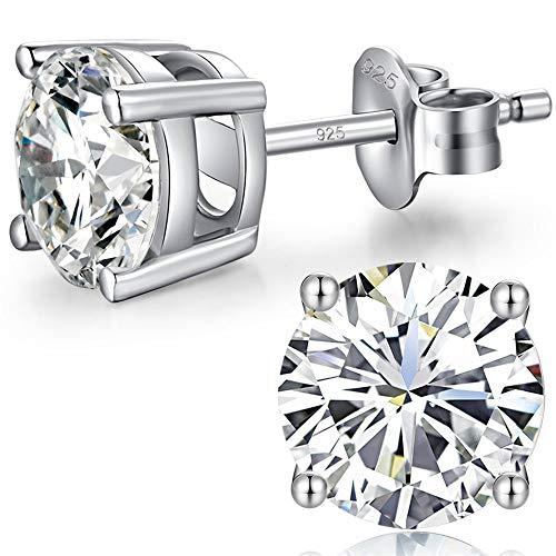 Pendientes Mujer Hombre Plata De Ley 925 Diamante Oro Blanco