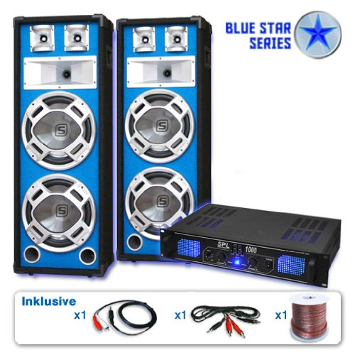 DJ Set'Basskern' impianto audio completo PA 2800 Watt (2 x casse altoparlanti Skytec, 1 amplificatore finale di potenza, set di cavi)