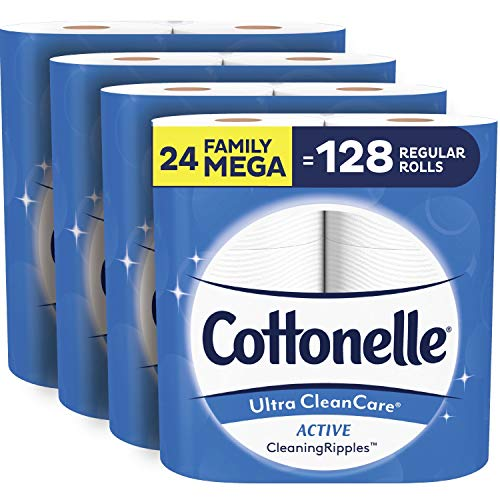Cottonelle Ultra CleanCare Soft Toilet Paper with Active Cleaning Ripples, 24 Family Mega Rolls, Bath Tissue (24 Family Mega Rolls = 128 Regular Rolls)