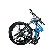 Eurobike OBK G4 26' Full Suspension Folding Mountain Bike 21 Speed Bicycle Men or Women MTB Foldable Frame (Blue)