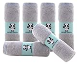 Hypoallergenic Bamboo Baby Wash Clothes - 2 Layer Ultra Soft Absorbent Bamboo Washcloths for Boy - Newborn Face Towel - Makeup Remove Washcloths for Delicate Skin - Baby Shower Gift (Gray, 6 Pack)