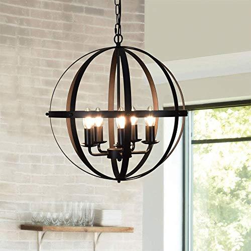 DLLT Pendant Light Metal, 5-Light Globe Pendant Lighting, Adjustable Hanging Ceiling Chandelier Light Flush Mount...