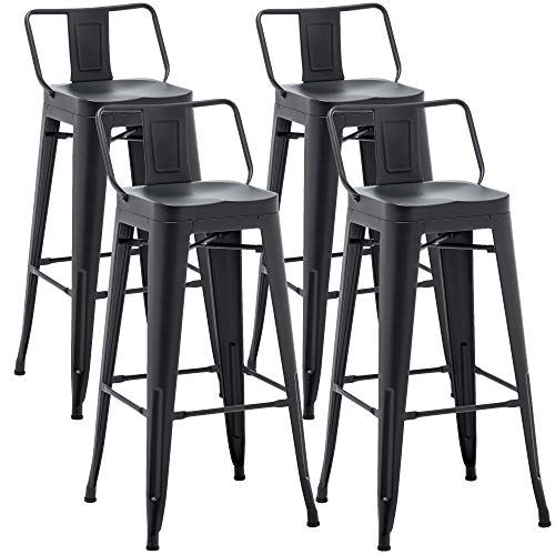 AKLAUS Metal Bar Stools Set of 4 Counter Height Stools 30 Inchs Counter Stools with Backs Black Bar stools with Backs Bar Height Stools 30' Ergonomic Seat, Low Back, Matte Black
