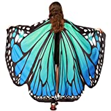 Christmas Party Soft Fabric Butterfly Wings Shawl Fairy Ladies Nymph Pixie Costume Accessory ((L) 168cm(W) 135cm/ 66' 53', Blue Green)