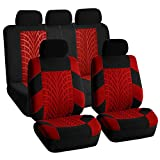 TLH Travel Master Seat Covers Full Set, Airbag Compatible, Red Color-Universal Fit for Cars, Auto, Trucks, SUV