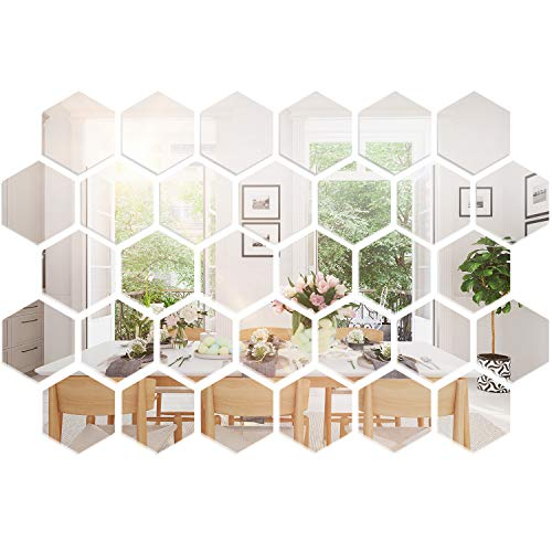 32 Pieces Removable Acrylic Mirror Setting Wall Sticker Decal for...
