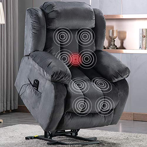 ANJ Power Massage Lift Recliner Chair with Heat & Vibration for Elderly, Heavy Duty and Safety Motion Reclining Mechanism - Antiskid Fabric Sofa Contempoary Overstuffed Design (Grey)