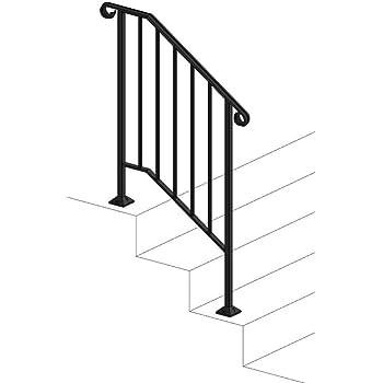 Iron X Handrail Picket 2 Concrete Steps Amazon Com | Handrails For Concrete Steps Lowes | Aluminum | Fiberglass | House | Simple | 1 Step