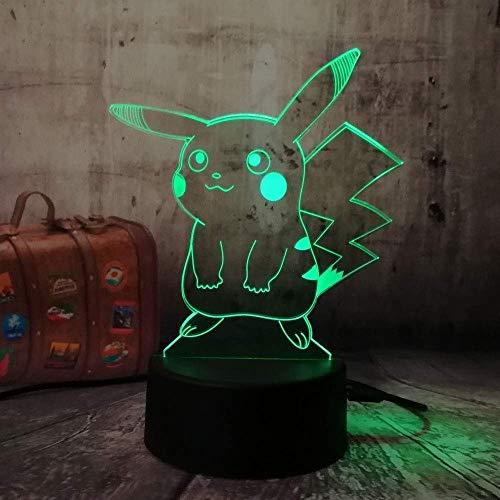 3Dナイトライトナイトライトイラスト雰囲気ピカチュウクリエイティブライトLedタッチUsb7色変更アクリルチャイルドファミリーベストギフトデコレーションバースデーガールボーイベストギフト