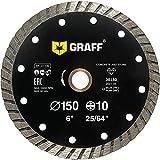 GRAFF 6 Inch Diamond Blade for Angle Grinder - Diamond Cutting Wheel for Cutting Stone, Marble, Granite, Brick, Masonry, Paving Flag, Concrete - Turbo Diamond Saw Blades - 150 mm