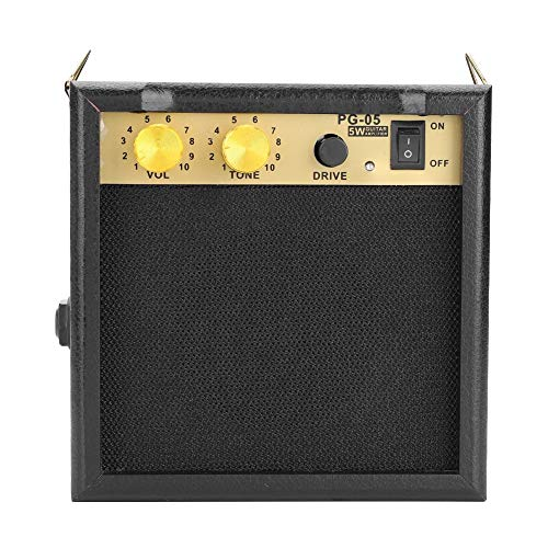 Tonysa Guitar Amplifier with Shoulder Strap, 5W DC 9V Powered Electric Guitar Amp Speaker with Adjustable Volume for Guitar Practice