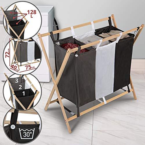 Jago Wäschesortierer - faltbar, 3 Fächer aus Stoff, aus Holz, dreifarbig, ca. 128 l Volumen, Größe (L/B/H): 75/40/72 cm - Wäschekorb, Wäschebox, Wäschesammler