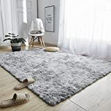 GOOVI Area Rugs Soft Fluffy Modern Home Decor Washable Non-Slip Carpet for Bedroom, Living Room, Boys Room, Girls Room, Play Room (5' 3' x 6' 6' Rectangle, Light Grey)