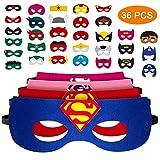 Pitaya 36 PCS Masques de Super-héros, Masques pour Enfants,Masque de Super-héros Cosplay Pour Enfants, Excellent Choix pour Les Cadeaux d'anniversaire, Convient aux Garçons et aux Filles