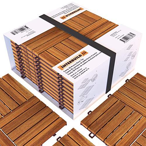 Piastrelle a incastro in legno di acacia, facili da installare,Per Deck, Patio e Balcone, 30 x 30 cm, 0,9 m2 per...