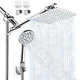 Shower Head with Handheld, High Pressure 8' Rain/Rainfall Shower Head Combo with 5FT Stainless Steel Hose, 11' Adjustable Extension Shower Arm, 9 Settings Anti-leak Shower Head with Holder, 2 Hooks