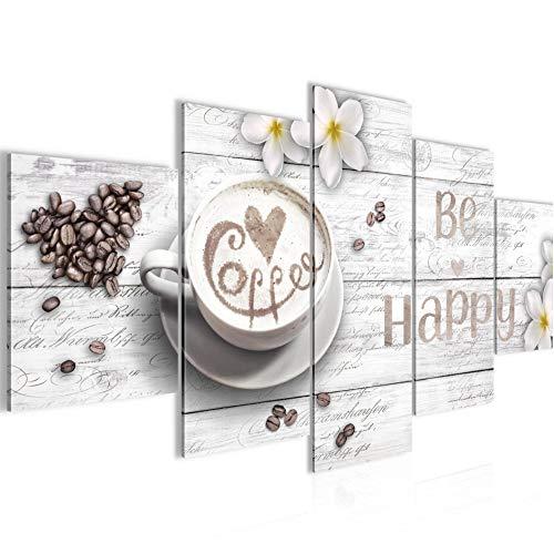 Bilder Küche Kaffee Wandbild Vlies - Leinwand Bild XXL Format Wandbilder Wohnzimmer Wohnung Deko Kunstdrucke Weiß 5 Teilig - MADE IN GERMANY - Fertig zum Aufhängen 020653c
