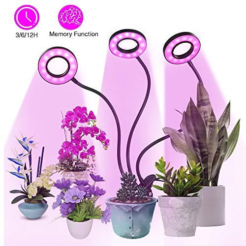 Pflanzenlampe 54LED 27W, Tomshine Dimmbar 5 Lichtstärken Pflanzenlicht Wachstumslampe mit 3 Timer (3h/6h/12h) / 360° verstellbarer Schwanenhals für Zimmerpflanzen Überwinterung Pflanzenleuchte
