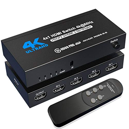 HDMI Switch 4K@60Hz, NerdEthos 4 Port HDMI 2.0 Switcher Selector 4 in 1 Out HDMI Switch with IR...