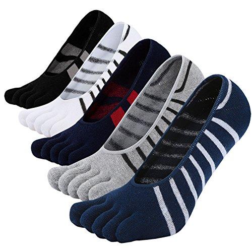 LOFIR Calzini Invisibili con Dita Separate da Uomo Calze 5 Dita, Sneaker Calzini Antiscivolo in Cotone per Uomo Calze Traspirante con le dita dei piedi, Taglia 39-44, 5 paia