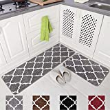 Carvapet 2 Pieces Rug Set Microfiber Moroccan Trellis Non-Slip Soft Kitchen Mat Bath Rug Doormat Runner Carpet Set, 17'x48'+17'x24', Grey