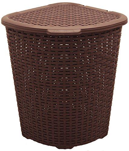 Eckkorb XXL Wäschekorb Wäschebox Wäschetruhe Wäsche Rattan Kunststoff praktisch (Braun)
