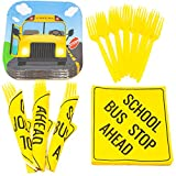 School Bus Value Party Supplies Pack (58+ Pieces for 16 Guests), Value Party Kit, School Bus Party Plates, School Bus Birthday, Napkins, Forks, Tableware