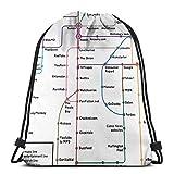 LREFON Mochila con cordón de Mapa de Internet Paquete de Saco de Gimnasio Paquete de cincha sólido Saco de Sinch Bolsa de cordón Deportivo