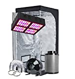 TopoGrow LED Grow Tent Complete Kit LED 600W LED Grow Light Kit +32'X32'X63' Indoor Grow Tent + 4' Fan&Filter&Ducting Combo Hydroponics Tent System (LED 600W, 32'X32'X63'+4')