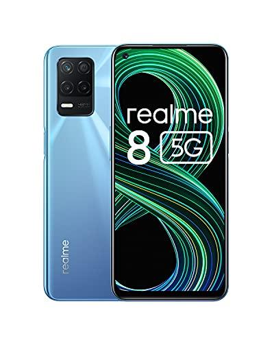 realme 8 5G Smartphone Libre, Procesador Dimensity 700 5G, Pantalla Ultra Smooth de 90Hz, batería masiva de 5000m, cámara con 48MP y modo nocturno, Dual Sim, NFC, 6+128GB, Supersonic Blue