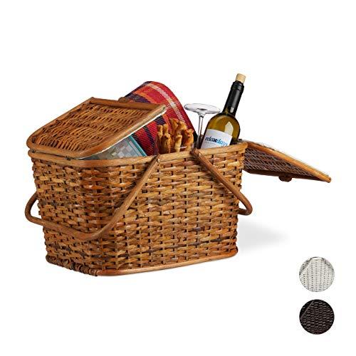 Relaxdays, Honigbraun Picknickkorb mit Deckel, geflochten, Stoffbezug, Henkel, großer Tragekorb, handgefertigt, Rattan, 25 Liter