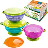 Baby Bowls for Toddlers Infants 6 Months Old Babies, Best Suction That Stick, BPA Free, Self Feeding Training Storage Bowl with Lids Avoid Food Spills Less Mess on Floor Great Shower Gift Set 3 Pack