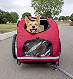 PetSafe Happy Ride Steel Dog Bicycle Trailer - Durable Frame - Easy to Connect and Disconnect to Bikes - Includes Three Storage Pouches and Safety Tether - Collapsible to Store - Medium