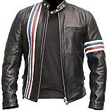 Men Vintage Cafe Racer Biker Retro Motorcycle Genuine Leather Jacket