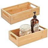 mDesign Juego de 2 cajas de bambú con asas – Cesta guardatodo de madera para almacenaje – Para champú, cremas y otros cosméticos – Cajón organizador de baño abierto de madera de bambú – color natural